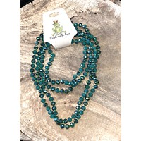 Teal Long beaded necklace