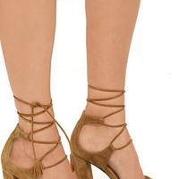 Report Mariachi Tan Suede Leather Lace-Up Heels