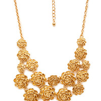 FOREVER 21 Cascading Bloom Bib Necklace Gold One