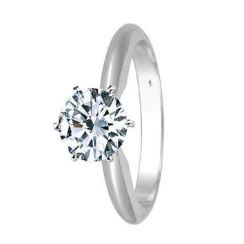 .3/4 Carat GIA Certified 14K White Gold 6-Prong Round Cut Solitaire Diamond Engagement Ring (0.75 Carat D-E Color VS1-VS2 Clarity)
