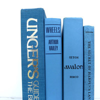 Waves of Blue Vintage Books / Book Decor / Instant Library / Library Filler / Home Decorating / Interior Decorating / Decorative Books