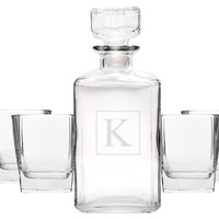 5-Pc Personalized Decanter Set, Assorted Sets of Barware Glasses