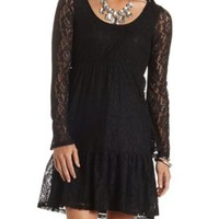 Long Sleeve Babydoll Lace Dress by Charlotte Russe - Black