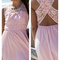 Love Me Tender Light Pink Lace Open Back Detail Sundress