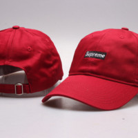 Suprerme Embroidered Cotton Baseball Cap Hats - Red