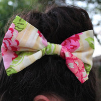 Spring Floral Bow by BowObsessions on Etsy