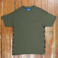 TIGER STRIPE SIDE PANEL POCKET TEE OLIVE Was $65, Now | Up There Store