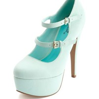NUBUCK DOUBLE MARY JANE PLATFORM PUMP