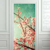 "GIANT Door STICKER spring pink flowers fresh forest decole film poster 31x79""(80x200cm)"