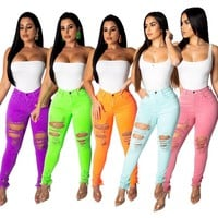 Women Casual Stretchy Ripped Solid Color Skinny Pants