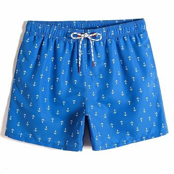 Fashion Casual Men Allover Anchor Print Swim Trunks