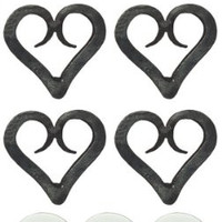 Park Design 962-75 Iron Forged Heart Napkin Rings Set of 6 with 6-Pack of Tea Candles
