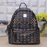 MCM Fashion Sport Laptop Bag Shoulder School Bag Backpack Black G-YJBD-2H