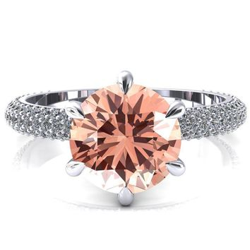 Elley Round Champagne Sapphire 6 Claw Prong Diamond Accent Engagement Ring