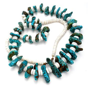 Turquoise Nuggets & Puka Shell Necklace Vintage