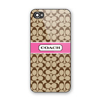 Cheap New Coach Pattern Pink Ribbon Hard Case Cover for iPhone 6/6s 6s Plus 7