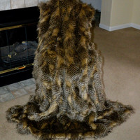 """Faux Fur Throw, Brown and Camel Ostrich, Fake Fur, Blanket Throw 72"""" x 60"""", Ready to Ship!"""
