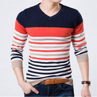 Cashmere Sweater with Orange and Blue Horizontal Stripes