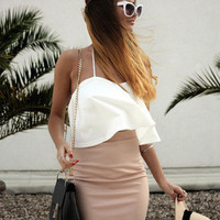 Spring Fashion - White Strapless Zipper Top With Pink Slim Skirt