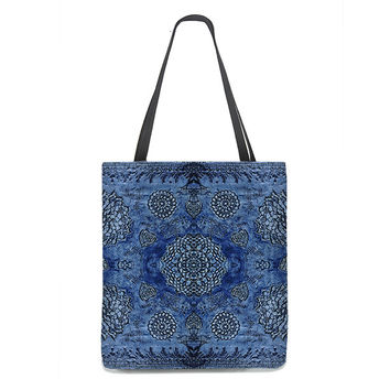Bohemian Tote Bag in royal blue with floral lace pattern