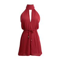 Burgundy Halter Off Shoulder V-Neck Sleeveless Drawstring Loose Casual Rompers