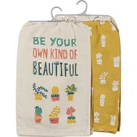 Be Your Own Kind Of Beautiful Bright Green Multicolored Dish Cloth Towel Set / Novelty Tea Towels / Cute Hilarious Kitchen Hand Towel