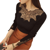 Knitted Sweater 2016 Spring Autumn New Women's Fashion Brand Slim Knitwear Lace Long Sleeve Sexy Slim Leaf Hollow Out Black Red