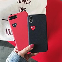 Fashion Japan tide brand CDG PLAY Comme des Garcons Loving eyes case cover for iphone 7 plus 6 6S X 8 8plus Frosted phone cases