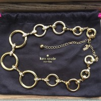 Kate Spade Gold Tone Chain Link Statement Necklace