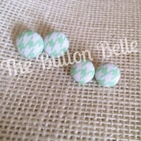 Classic Houndstooth Cover Button Earrings