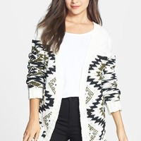Woven Heart Geo Pattern Cardigan (Juniors)