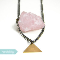 Rose Quartz Necklace - Raw Crystal Necklace - Gemstone Necklace - Geometric Jewelry - Crystal Jewelry - Tribal Jewelry