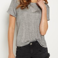 Silver Foil Knit Oversized Tee | Short Sleeve | rue21