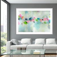 Large Abstract Print from canvas painting giclee Blue painting with green - modern Painting wall art prints by Camilo Mattis