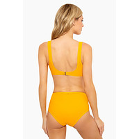 Side Laced High Waist Bikini Bottom - Tangerine Orange