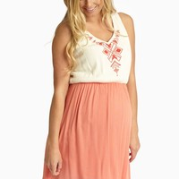 Coral Colorblock Geometric Embroidered Linen Maternity Tank Top