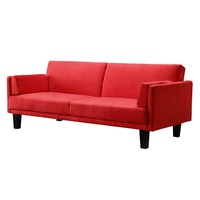 Contemporary Mid-Century Style Sofa Bed in Red Microfiber
