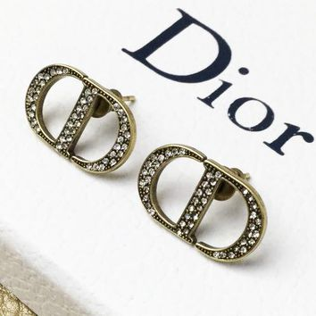 DIOR Stylish Women Classic CD Letter Diamond Earrings Accessories Jewelry