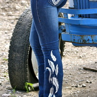 DENIM JEANS WITH SILVER FEATHERS
