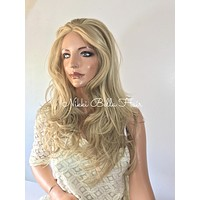 Natural Light Blond Waves'  Human Hair Blend Multi Parting Lace Front Wig - Caya