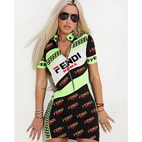 FENDI Summer Hot Sale Women Sexy Print Half Zipper Short Sleeve High Collar Dress Black