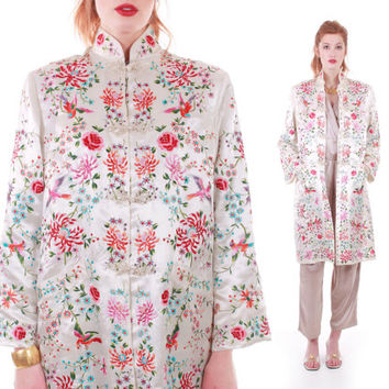 Vintage Embroidered Silk Jacket Plum Blossoms Ivory White Cheongsam Duster Asian Chinese Long Retro Kimono 60s Women Size Small Medium