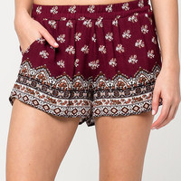 FULL TILT Floral Border Print Womens Shorts | Shorts