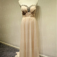 2015 Long Champagne Bridsmaid Dresses Chiffon Prom Dresses Sweetheart Beaded Evening Gowns Wedding Party Pagneat Dresses Beach Summer Dress