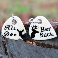 Her Buck His Doe Engraved Bone Necklaces