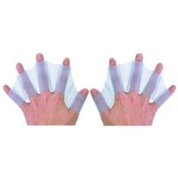 "Generic Silicone Swim Gear Fins Hand Webbed Flippers Training Glove L Size 7.1"" x 2.4"" x 0.1"" Blue"