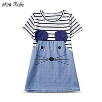 Summer Girl Clothes Striped Character Little Mouse Girl Dresses Cute Children Clothing Toddler Girl Dress Kids Dresses Girl