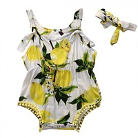 2Pcs/Set ! born Baby Girl Romper Summer Sleeveless Backless Halter Sunsuit lemon Babies Outfits Clothes