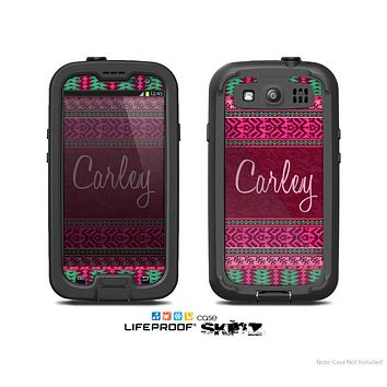 The Glowing Green & Pink Ethnic Aztec Pattern with Name Script Skin For The Samsung Galaxy S3 LifeProof Case