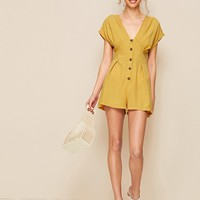 Deep V Neck Button Through Playsuit